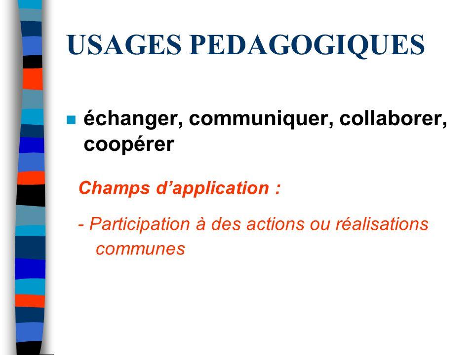USAGES PEDAGOGIQUES n échanger, communiquer, collaborer, coopérer Champs dapplication : - Participation à des actions ou réalisations communes