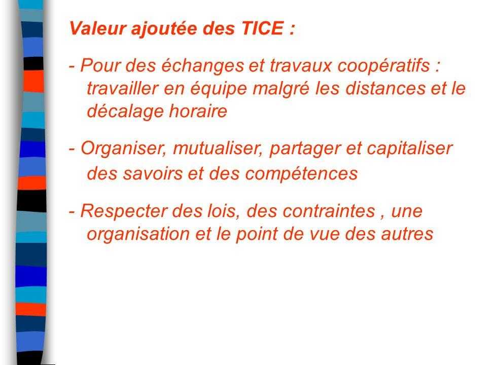 Valeur ajoutée des TICE : - Pour des échanges et travaux coopératifs : travailler en équipe malgré les distances et le décalage horaire - Organiser, m