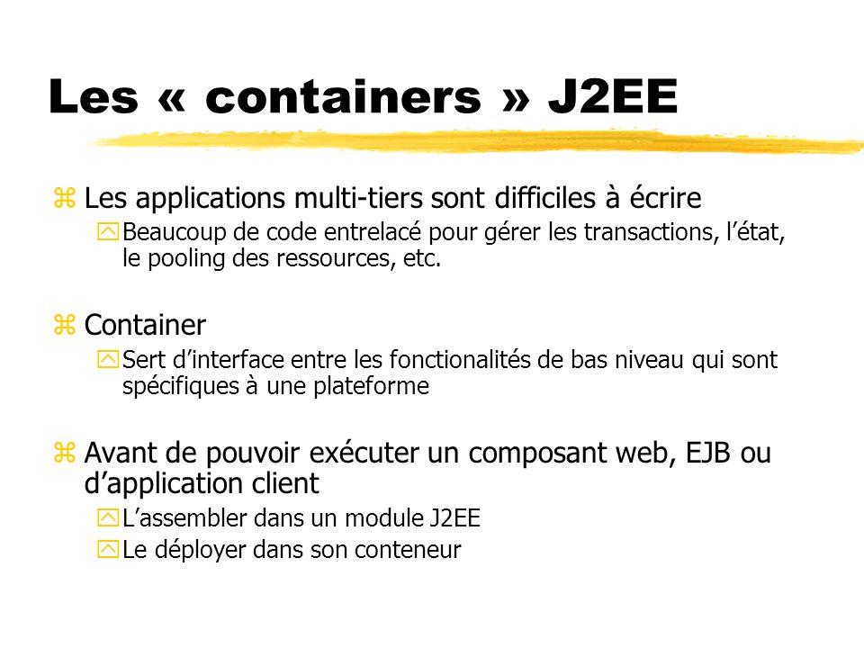 Les « containers » J2EE zLes applications multi-tiers sont difficiles à écrire yBeaucoup de code entrelacé pour gérer les transactions, létat, le pool