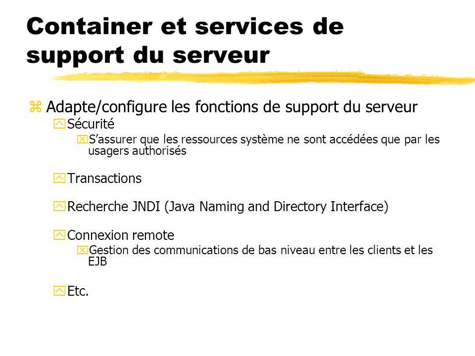Container et services de support du serveur zAdapte/configure les fonctions de support du serveur ySécurité xSassurer que les ressources système ne so
