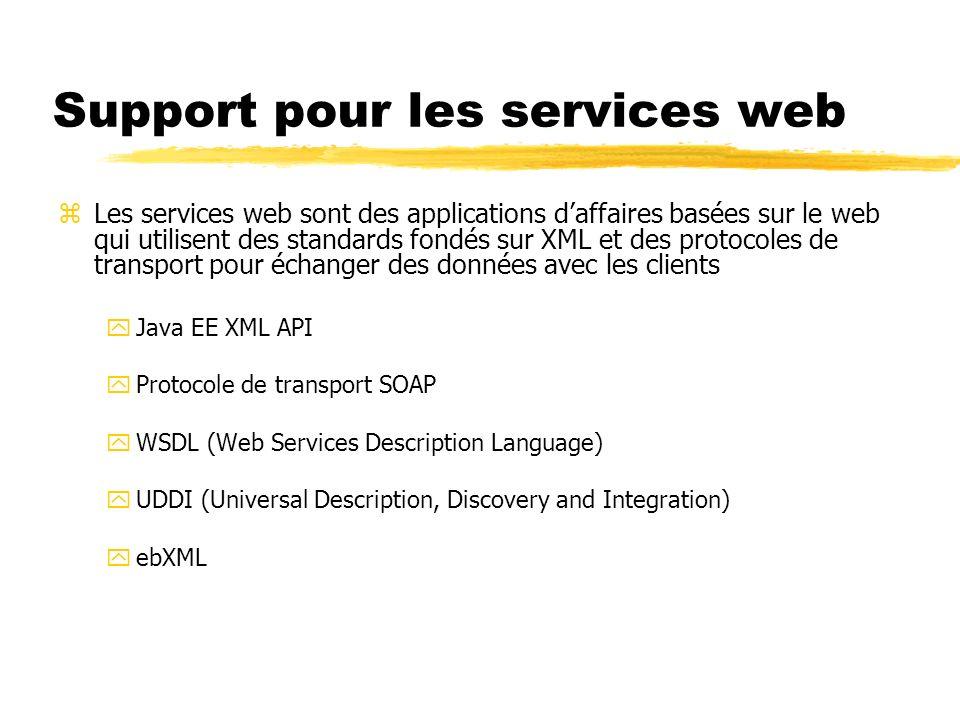 Support pour les services web zLes services web sont des applications daffaires basées sur le web qui utilisent des standards fondés sur XML et des pr