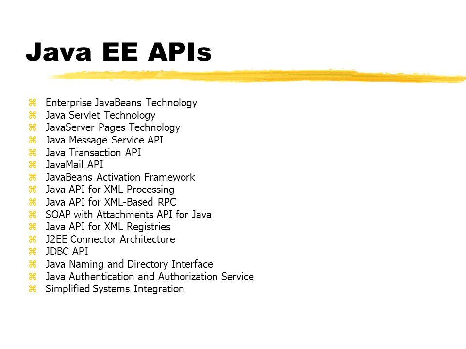 zEnterprise JavaBeans Technology zJava Servlet Technology zJavaServer Pages Technology zJava Message Service API zJava Transaction API zJavaMail API z