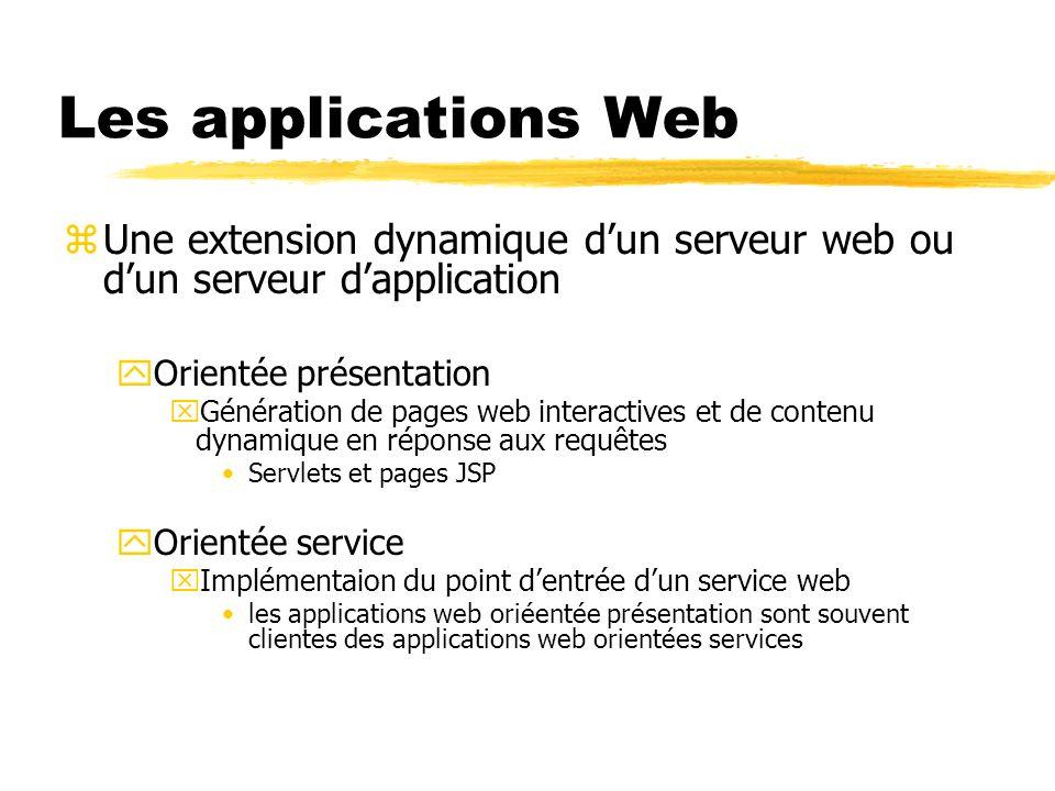 Les applications Web zUne extension dynamique dun serveur web ou dun serveur dapplication yOrientée présentation xGénération de pages web interactives