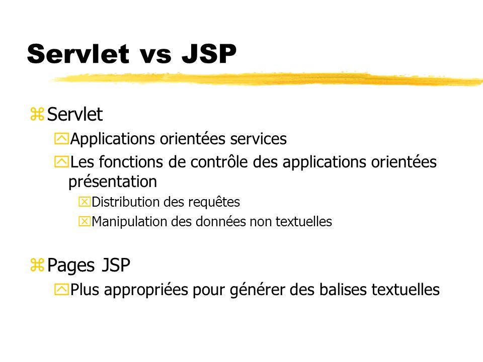 Servlet vs JSP zServlet yApplications orientées services yLes fonctions de contrôle des applications orientées présentation xDistribution des requêtes