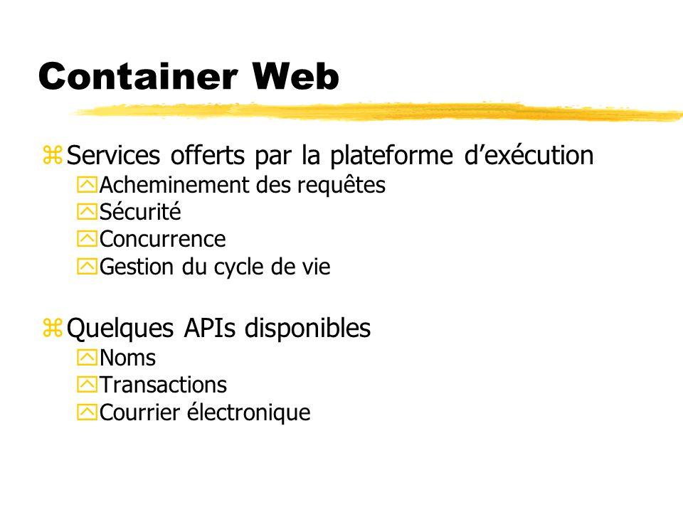 Container Web zServices offerts par la plateforme dexécution yAcheminement des requêtes ySécurité yConcurrence yGestion du cycle de vie zQuelques APIs