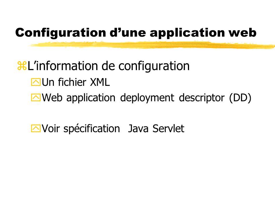 Configuration dune application web zLinformation de configuration yUn fichier XML yWeb application deployment descriptor (DD) yVoir spécification Java