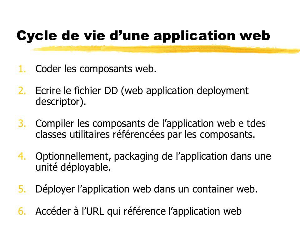 Cycle de vie dune application web 1.Coder les composants web. 2.Ecrire le fichier DD (web application deployment descriptor). 3.Compiler les composant