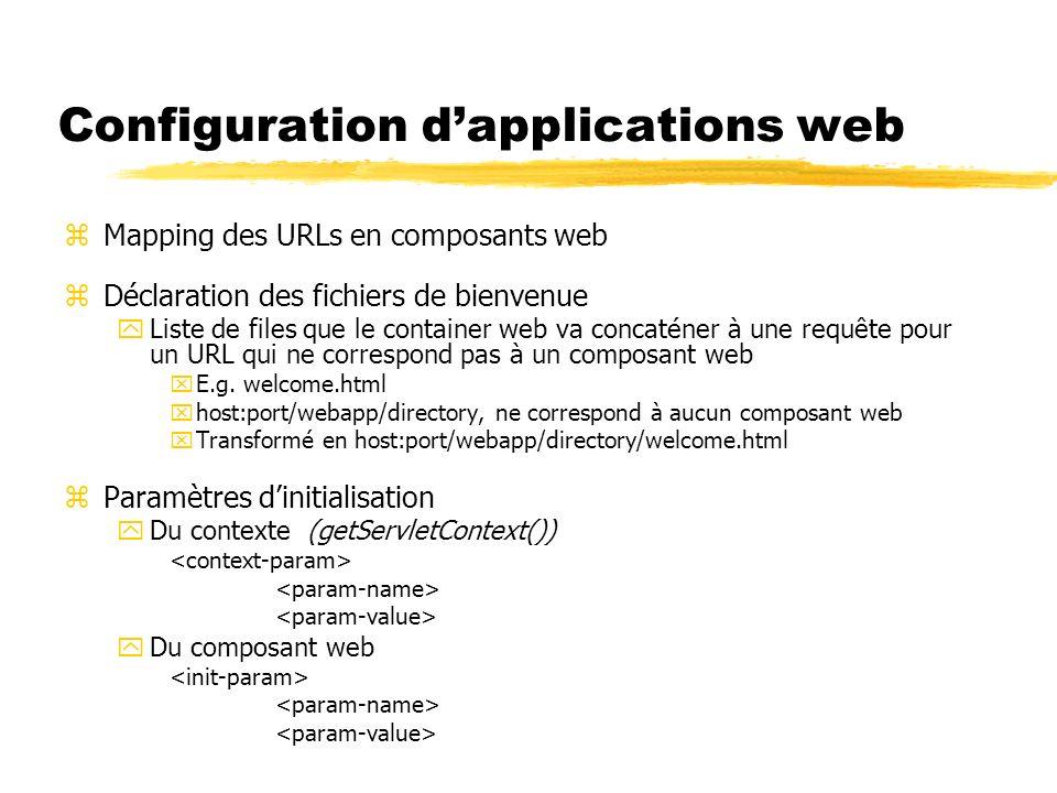 Configuration dapplications web zMapping des URLs en composants web zDéclaration des fichiers de bienvenue yListe de files que le container web va con