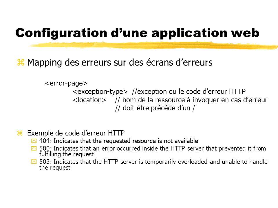 Configuration dune application web zMapping des erreurs sur des écrans derreurs //exception ou le code derreur HTTP // nom de la ressource à invoquer