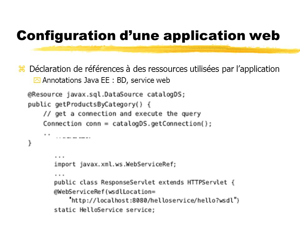 Configuration dune application web zDéclaration de références à des ressources utilisées par lapplication yAnnotations Java EE : BD, service web