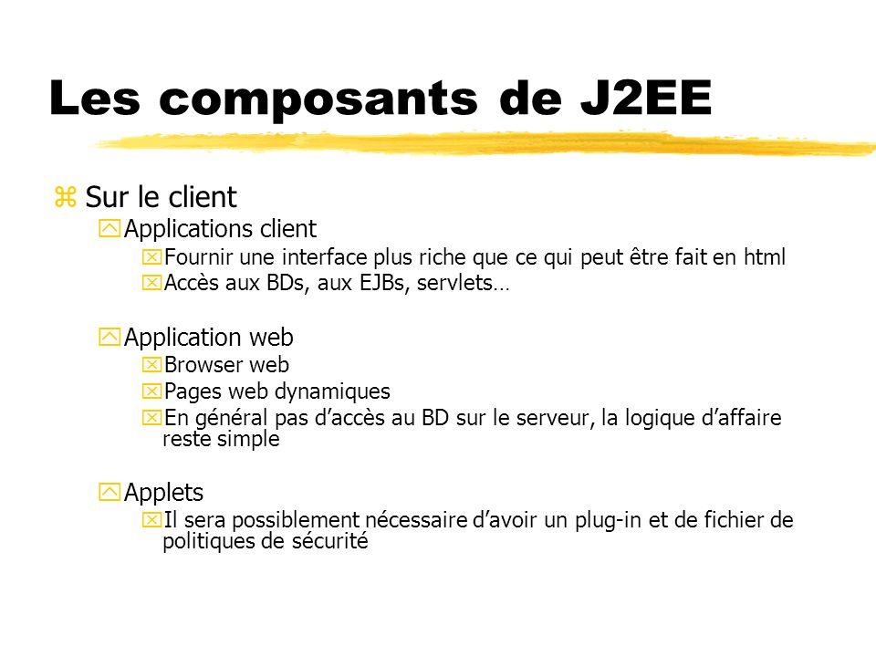 Les composants de J2EE zSur le serveur yComposants web xJava servlets, JavaServer Faces, JSP yComposants entreprises xEnterprise JavaBeans (EJB)