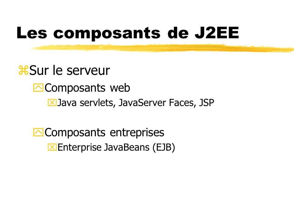 Les composants de J2EE zComposants JavaBeans yPas des composants J2EE yUtiles pour gérer les flots de données entre le client et le serveur ainsi quentre le serveur et les BDs zDifférences entre les classes J2SE et les composants J2EE yLes composants sont destinés à être déployées, exécutées et gérées par un serveur
