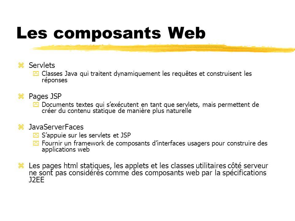 Les composants Web zServlets yClasses Java qui traitent dynamiquement les requêtes et construisent les réponses zPages JSP yDocuments textes qui sexéc