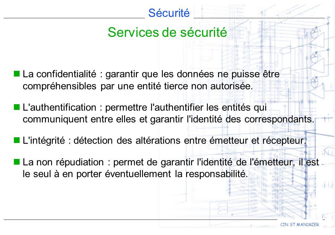 Sécurité CIN ST MANDRIER La confidentialité : garantir que les données ne puisse être compréhensibles par une entité tierce non autorisée. L'authentif