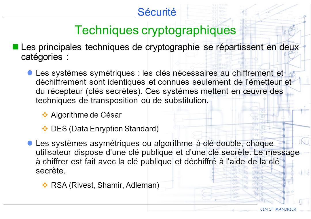 Sécurité CIN ST MANDRIER Les principales techniques de cryptographie se répartissent en deux catégories : Les systèmes symétriques : les clés nécessai