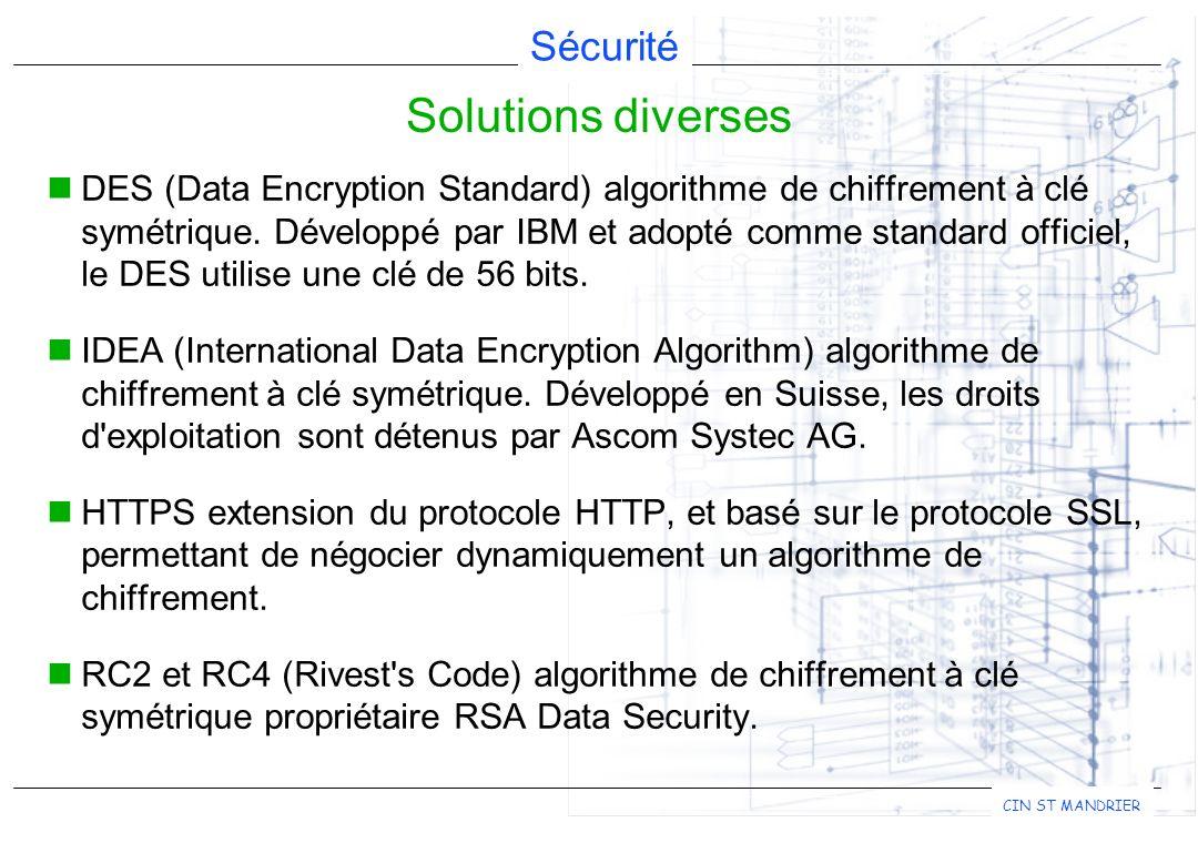 Sécurité CIN ST MANDRIER DES (Data Encryption Standard) algorithme de chiffrement à clé symétrique. Développé par IBM et adopté comme standard officie