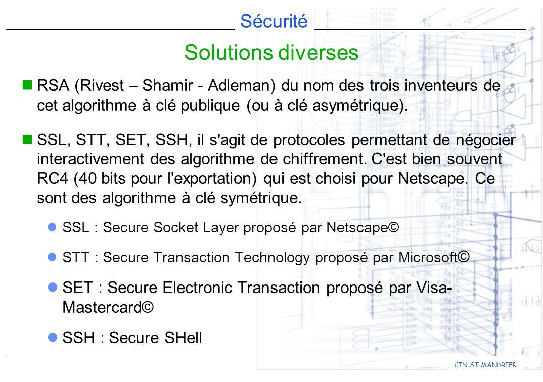 Sécurité CIN ST MANDRIER RSA (Rivest – Shamir - Adleman) du nom des trois inventeurs de cet algorithme à clé publique (ou à clé asymétrique). SSL, STT