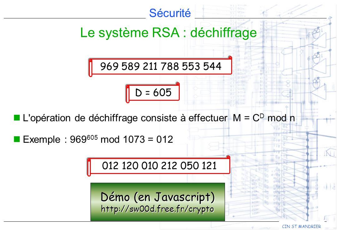 Sécurité CIN ST MANDRIER L'opération de déchiffrage consiste à effectuer M = C D mod n Exemple : 969 605 mod 1073 = 012 Le système RSA : déchiffrage 9