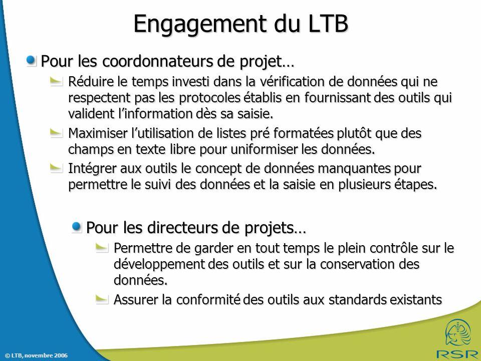 © LTB, novembre 2006 Pour les coordonnateurs de projet… Réduire le temps investi dans la vérification de données qui ne respectent pas les protocoles établis en fournissant des outils qui valident linformation dès sa saisie.