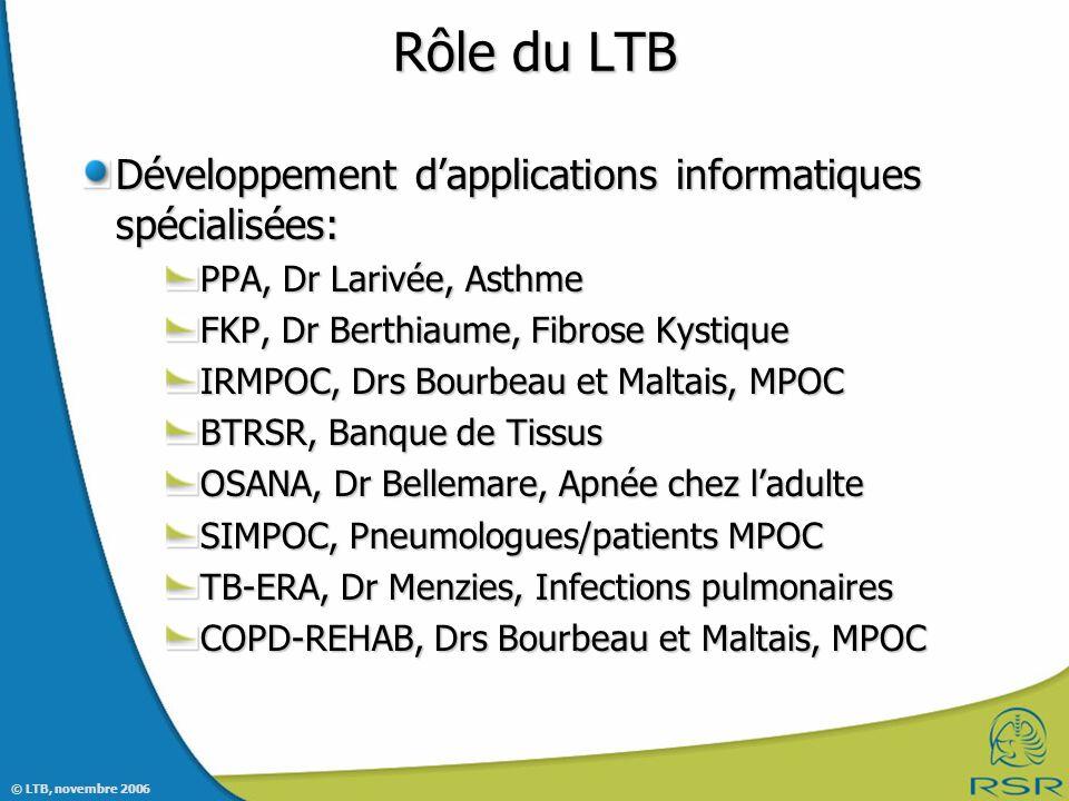 © LTB, novembre 2006 Rôle du LTB Développement dapplications informatiques spécialisées: PPA, Dr Larivée, Asthme FKP, Dr Berthiaume, Fibrose Kystique IRMPOC, Drs Bourbeau et Maltais, MPOC BTRSR, Banque de Tissus OSANA, Dr Bellemare, Apnée chez ladulte SIMPOC, Pneumologues/patients MPOC TB-ERA, Dr Menzies, Infections pulmonaires COPD-REHAB, Drs Bourbeau et Maltais, MPOC