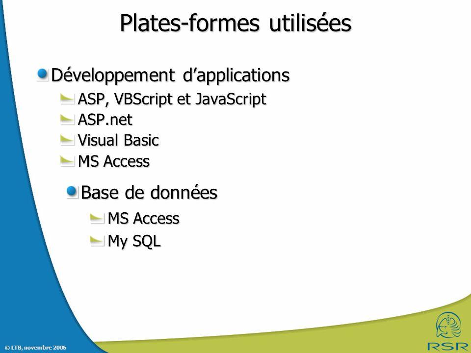 © LTB, novembre 2006 Plates-formes utilisées Développement dapplications ASP, VBScript et JavaScript ASP.net Visual Basic MS Access Base de données MS Access My SQL