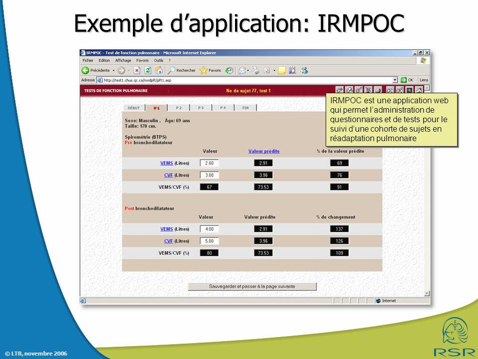 © LTB, novembre 2006 Exemple dapplication: IRMPOC IRMPOC est une application web qui permet ladministration de questionnaires et de tests pour le suivi dune cohorte de sujets en réadaptation pulmonaire