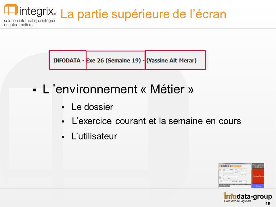 L environnement « Métier » La partie supérieure de lécran Le dossier Lexercice courant et la semaine en cours Lutilisateur 19