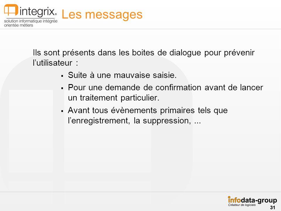 Les messages Ils sont présents dans les boites de dialogue pour prévenir lutilisateur : Suite à une mauvaise saisie. Pour une demande de confirmation