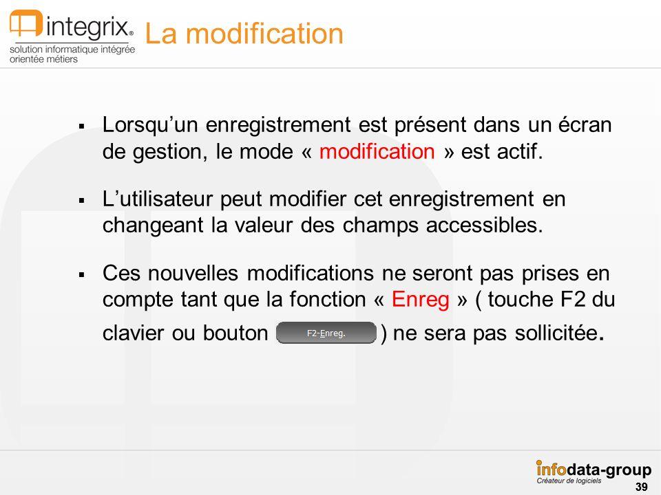 La modification Lorsquun enregistrement est présent dans un écran de gestion, le mode « modification » est actif. Lutilisateur peut modifier cet enreg