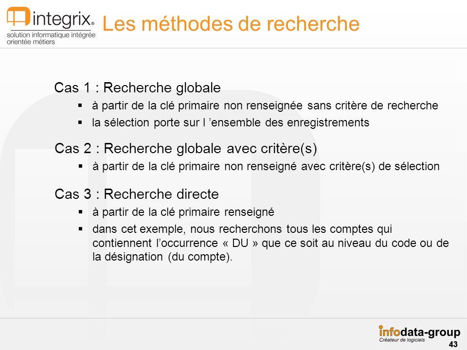 Les méthodes de recherche Cas 1 : Recherche globale à partir de la clé primaire non renseignée sans critère de recherche la sélection porte sur l ense