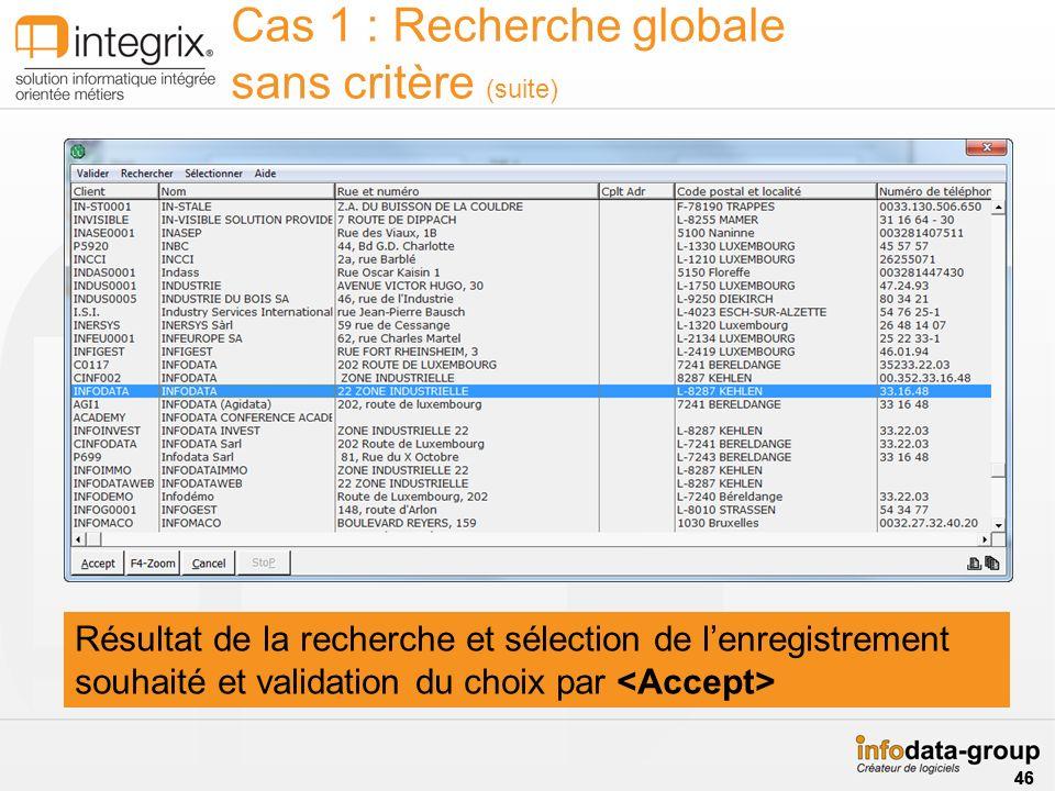 Résultat de la recherche et sélection de lenregistrement souhaité et validation du choix par Cas 1 : Recherche globale sans critère (suite) 46