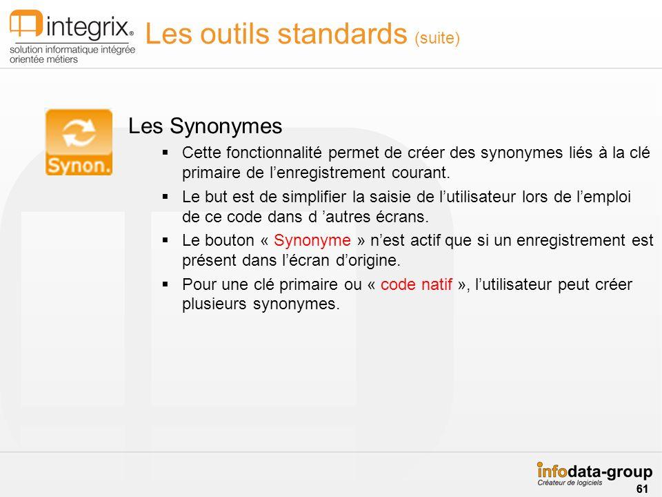 Les outils standards (suite) Les Synonymes Cette fonctionnalité permet de créer des synonymes liés à la clé primaire de lenregistrement courant. Le bu