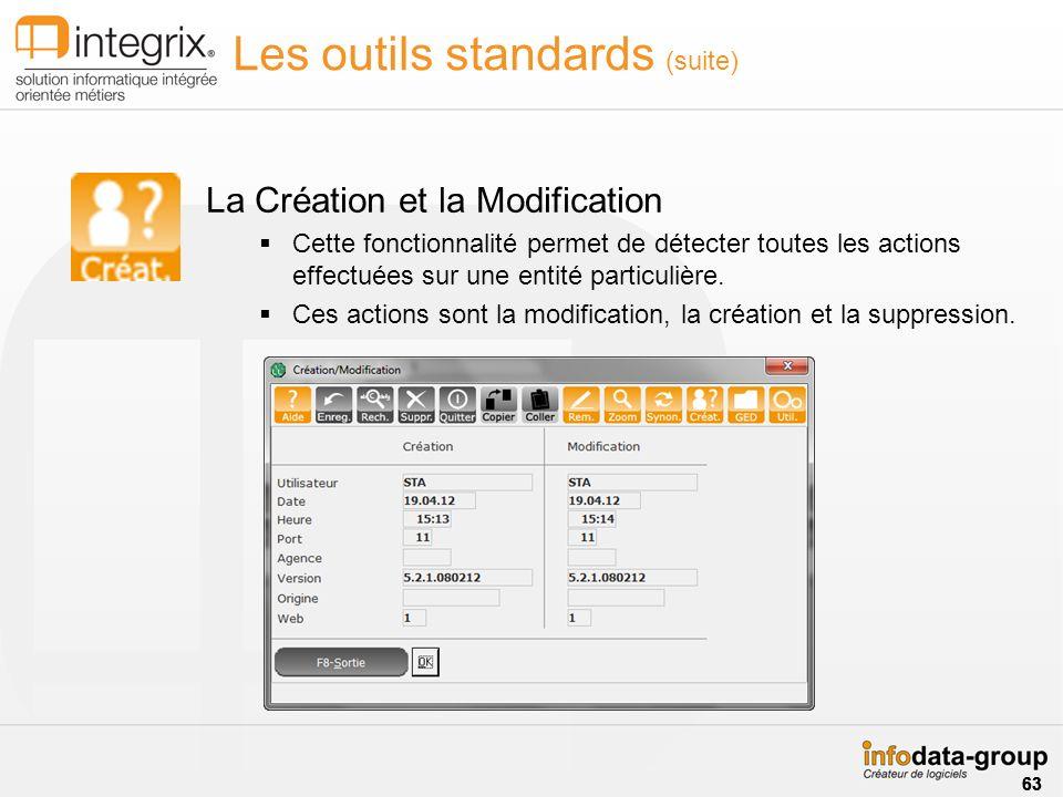 Les outils standards (suite) La Création et la Modification Cette fonctionnalité permet de détecter toutes les actions effectuées sur une entité particulière.