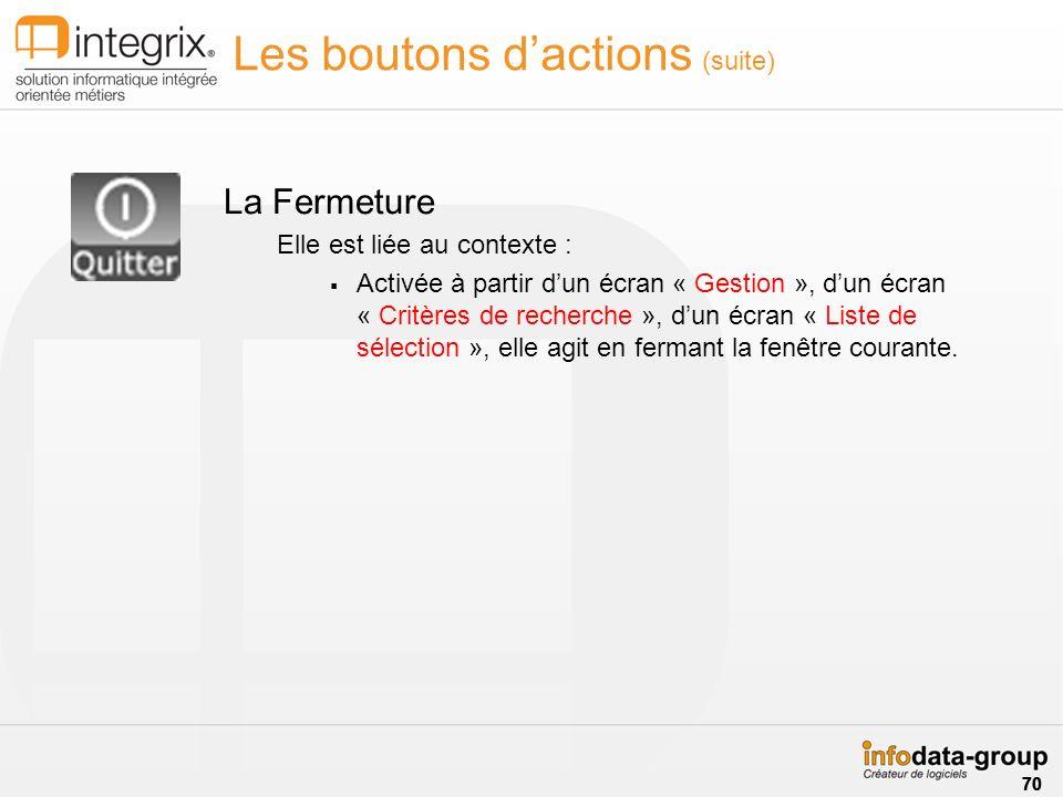Les boutons dactions (suite) La Fermeture Elle est liée au contexte : Activée à partir dun écran « Gestion », dun écran « Critères de recherche », dun écran « Liste de sélection », elle agit en fermant la fenêtre courante.