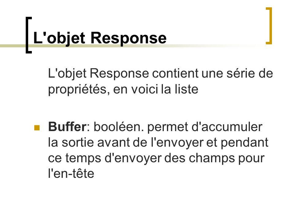 L'objet Response L'objet Response contient une série de propriétés, en voici la liste Buffer: booléen. permet d'accumuler la sortie avant de l'envoyer