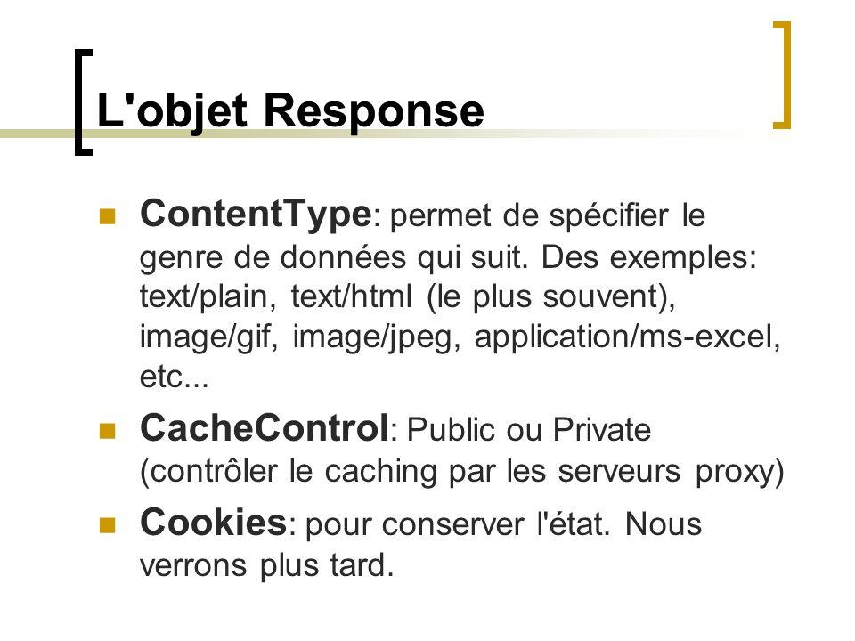 L'objet Response ContentType : permet de spécifier le genre de données qui suit. Des exemples: text/plain, text/html (le plus souvent), image/gif, ima
