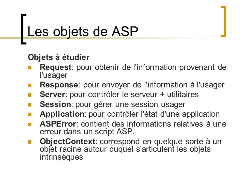 Les objets de ASP Objets à étudier Request: pour obtenir de l information provenant de l usager Response: pour envoyer de l information à l usager Server: pour contrôler le serveur + utilitaires Session: pour gérer une session usager Application: pour contrôler l état d une application ASPError: contient des informations relatives à une erreur dans un script ASP.