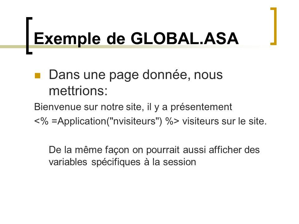 Exemple de GLOBAL.ASA Dans une page donnée, nous mettrions: Bienvenue sur notre site, il y a présentement visiteurs sur le site.