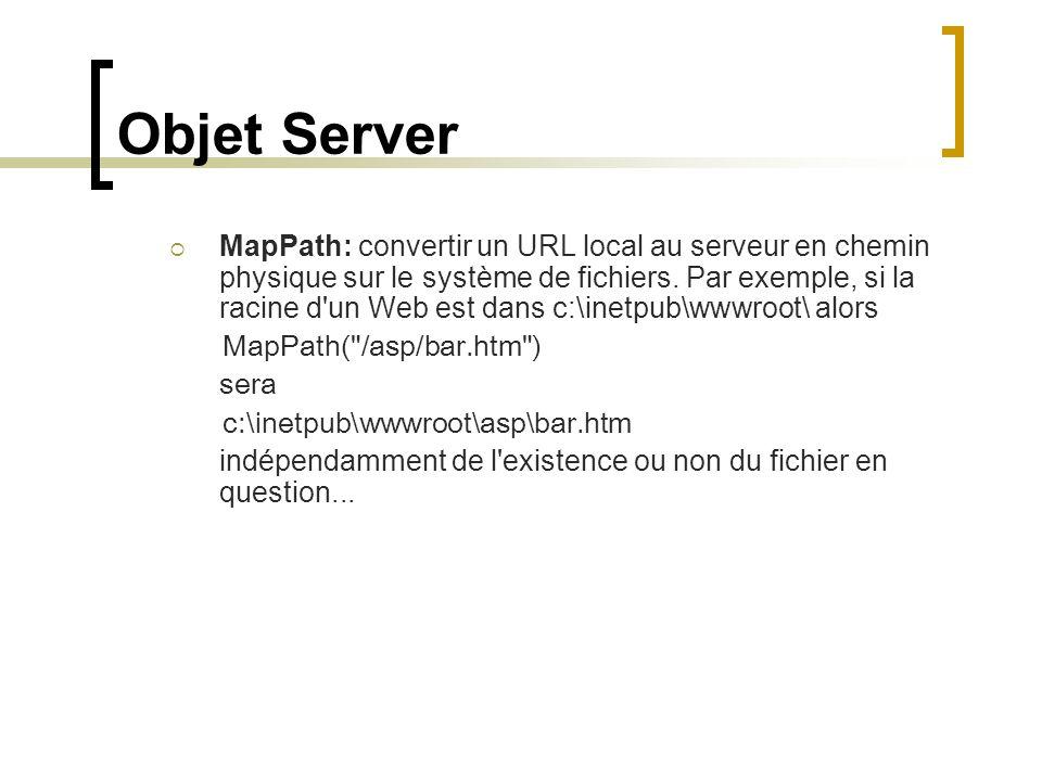 Objet Server MapPath: convertir un URL local au serveur en chemin physique sur le système de fichiers. Par exemple, si la racine d'un Web est dans c:\