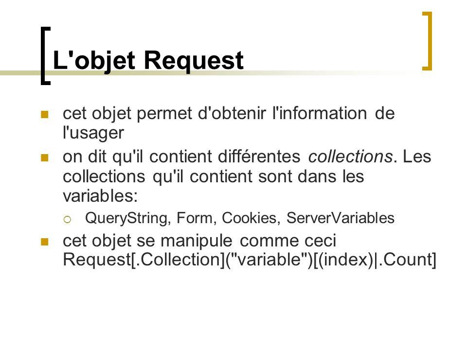 L'objet Request cet objet permet d'obtenir l'information de l'usager on dit qu'il contient différentes collections. Les collections qu'il contient son