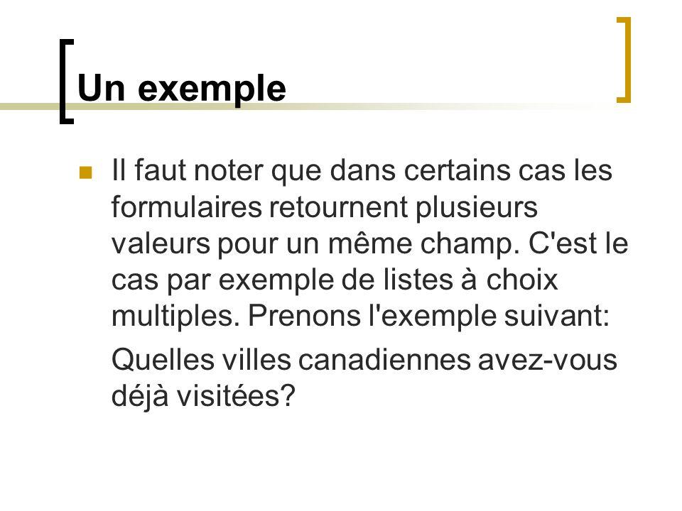 Un exemple Il faut noter que dans certains cas les formulaires retournent plusieurs valeurs pour un même champ. C'est le cas par exemple de listes à c
