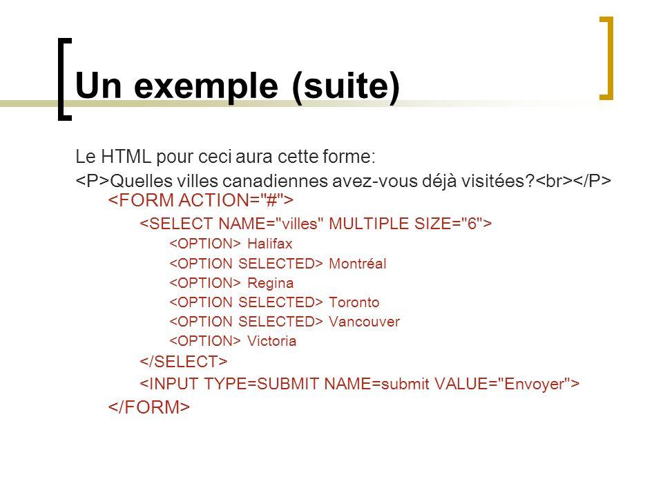 Un exemple (suite) Le HTML pour ceci aura cette forme: Quelles villes canadiennes avez-vous déjà visitées? Halifax Montréal Regina Toronto Vancouver V