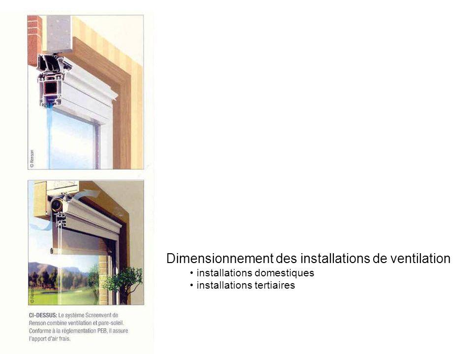 Dimensionnement des installations de ventilation installations domestiques installations tertiaires