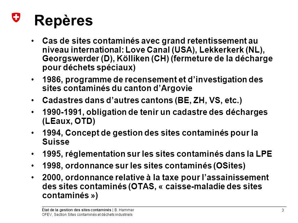 3 État de la gestion des sites contaminés | B. Hammer OFEV, Section Sites contaminés et déchets industriels Repères Cas de sites contaminés avec grand