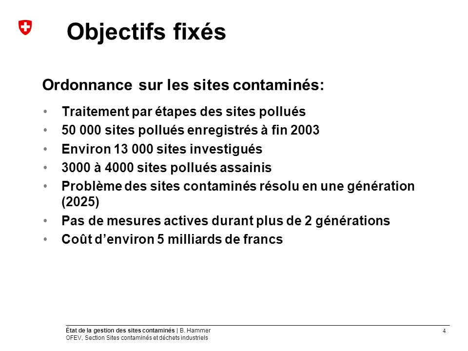 4 État de la gestion des sites contaminés | B. Hammer OFEV, Section Sites contaminés et déchets industriels Objectifs fixés Ordonnance sur les sites c