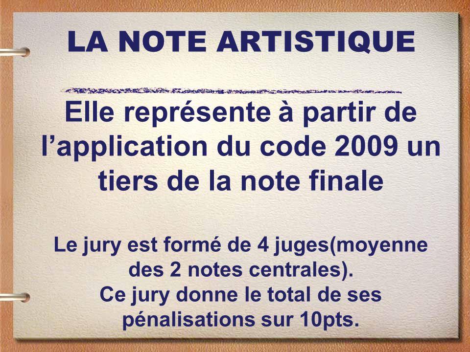 LA NOTE ARTISTIQUE Elle représente à partir de lapplication du code 2009 un tiers de la note finale Le jury est formé de 4 juges(moyenne des 2 notes centrales).