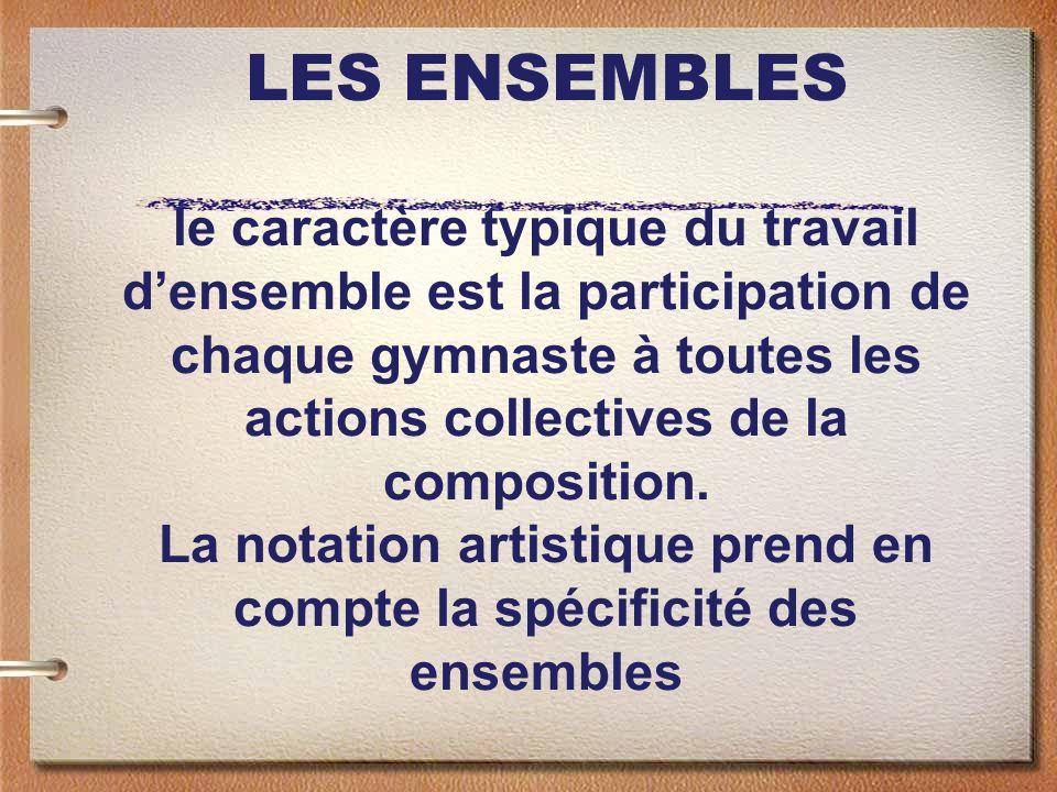 LES ENSEMBLES le caractère typique du travail densemble est la participation de chaque gymnaste à toutes les actions collectives de la composition. La