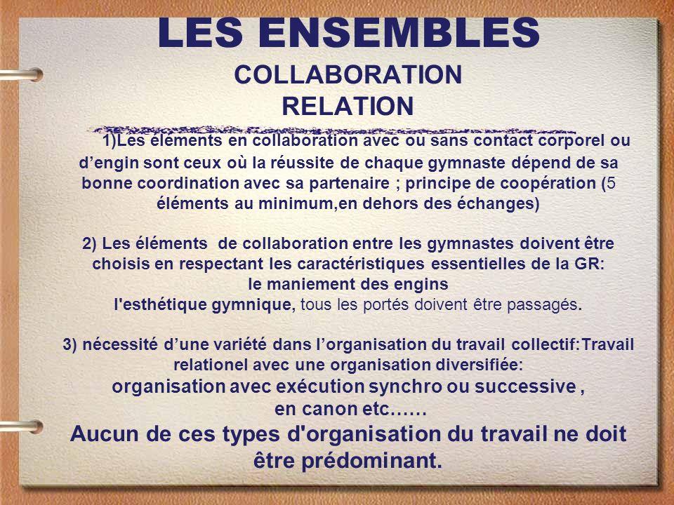 LES ENSEMBLES COLLABORATION RELATION 1)Les éléments en collaboration avec ou sans contact corporel ou dengin sont ceux où la réussite de chaque gymnas
