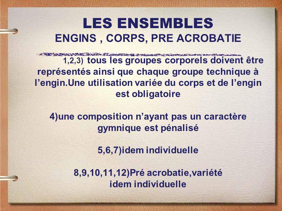 LES ENSEMBLES ENGINS, CORPS, PRE ACROBATIE 1,2,3) tous les groupes corporels doivent être représentés ainsi que chaque groupe technique à lengin.Une utilisation variée du corps et de lengin est obligatoire 4)une composition nayant pas un caractère gymnique est pénalisé 5,6,7)idem individuelle 8,9,10,11,12)Pré acrobatie,variété idem individuelle