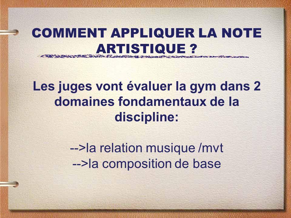 COMMENT APPLIQUER LA NOTE ARTISTIQUE ? Les juges vont évaluer la gym dans 2 domaines fondamentaux de la discipline: -->la relation musique /mvt -->la